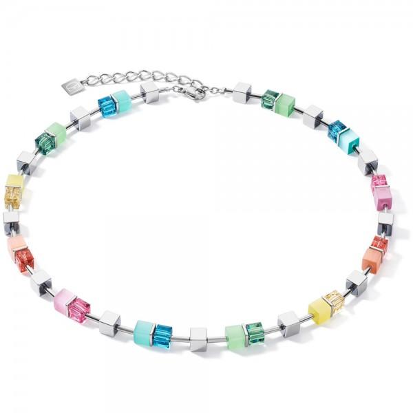 GeoCUBE® Halskette Multicolor Spring-Silber