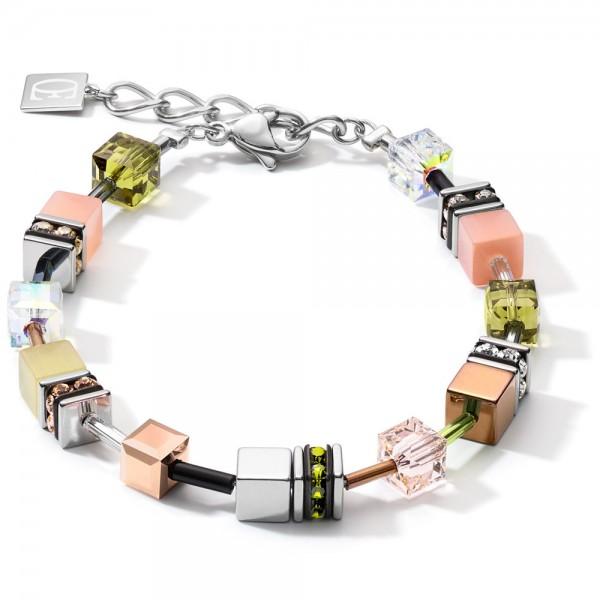 GeoCUBE® Armband Medium Oliv-Peach