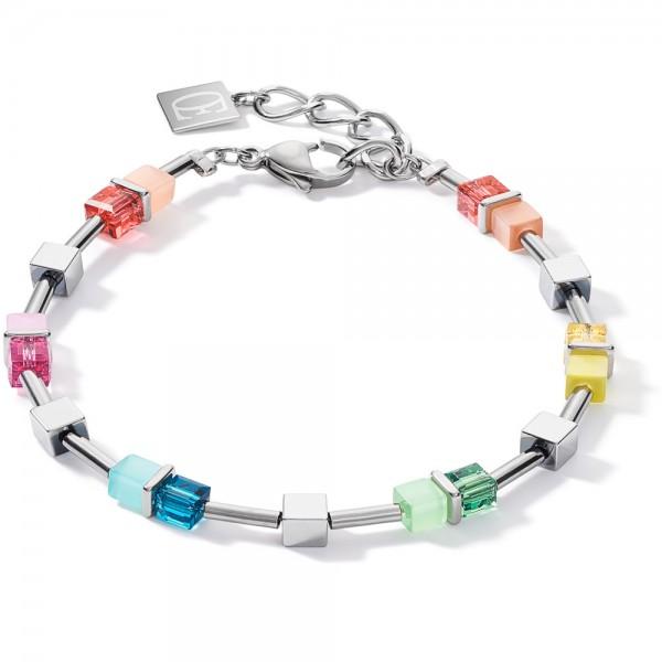 GeoCUBE® Armband Multicolor Spring-Silber