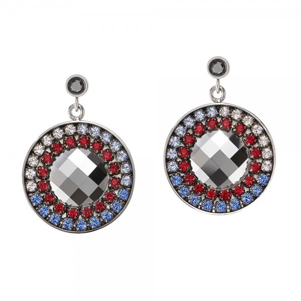 Ohrringe Amulett Swarovski® & Mesh Blau-Rot