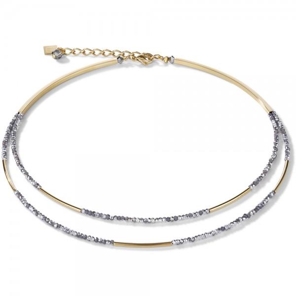 Halskette Wasserfall Small Gold & Glas Silber