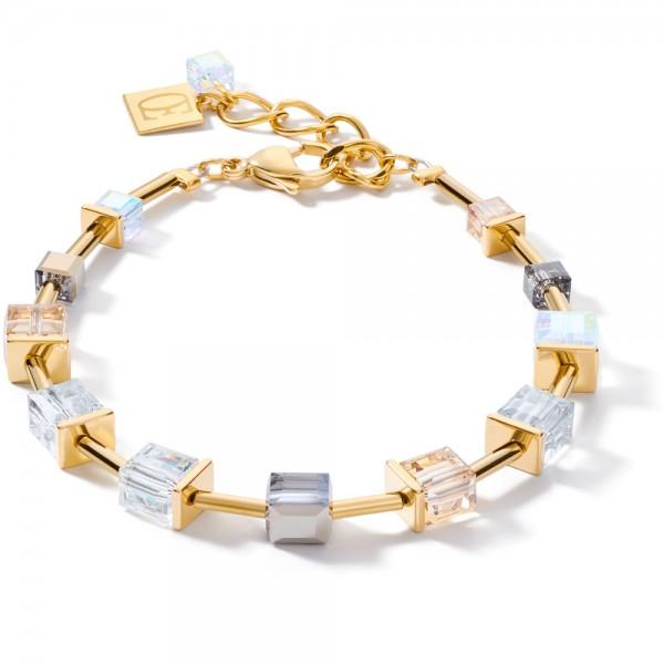 GeoCUBE® Armband Swarovski® Kristalle Gold-Grau