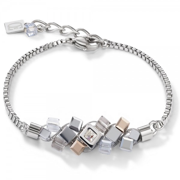 Armband GeoCUBE® Cluster Silber-Rosegold