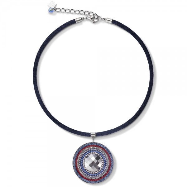 Halskette Amulett Swarovski® & Mesh Blau-Rot
