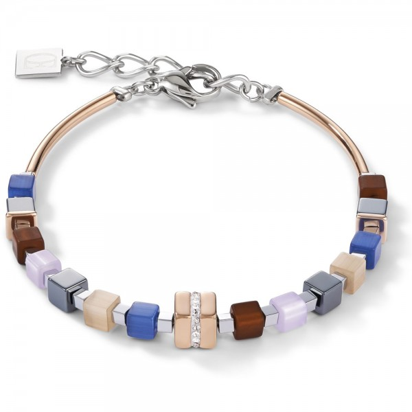 GeoCUBE® Armband Edelstahl Rosé & Kristall Pavé Blau-Braun