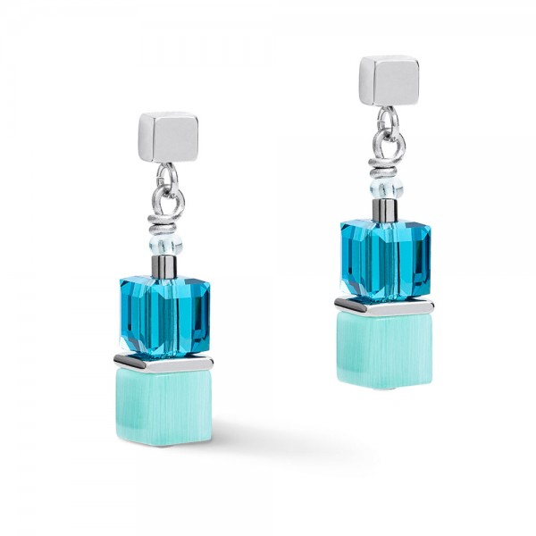 GeoCUBE® Ohrringe Multicolor Spring-Silber