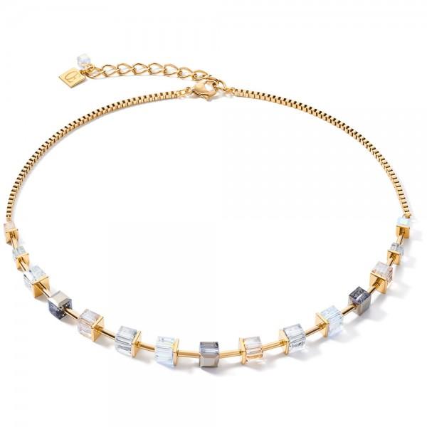 GeoCUBE® Halskette Swarovski® Kristalle Gold-Grau