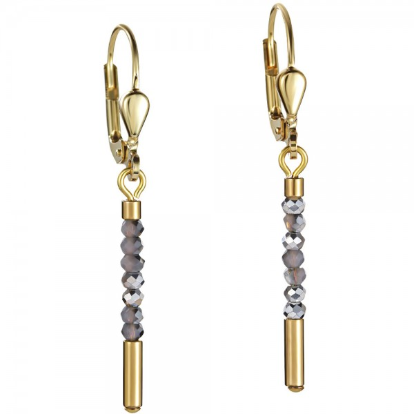 Ohrringe Wasserfall Small Gold & Glas Silber