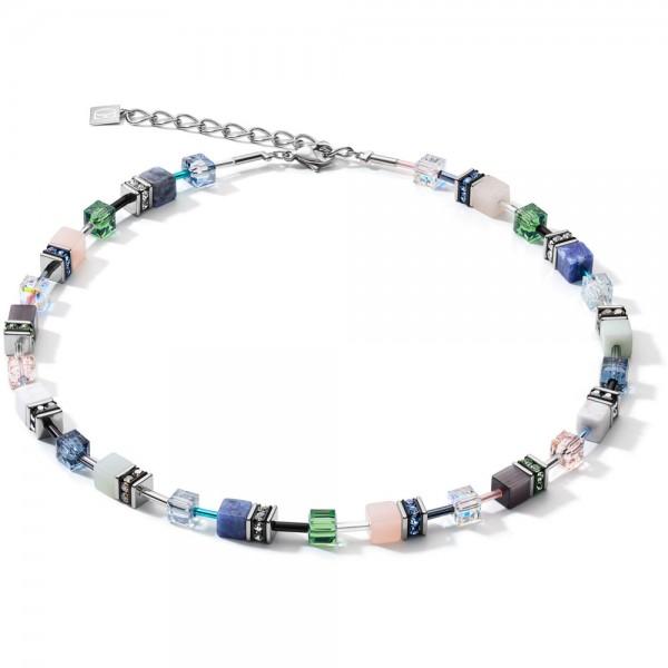 GeoCUBE® Halskette Swarovski® & Edelsteine Blau-Grün