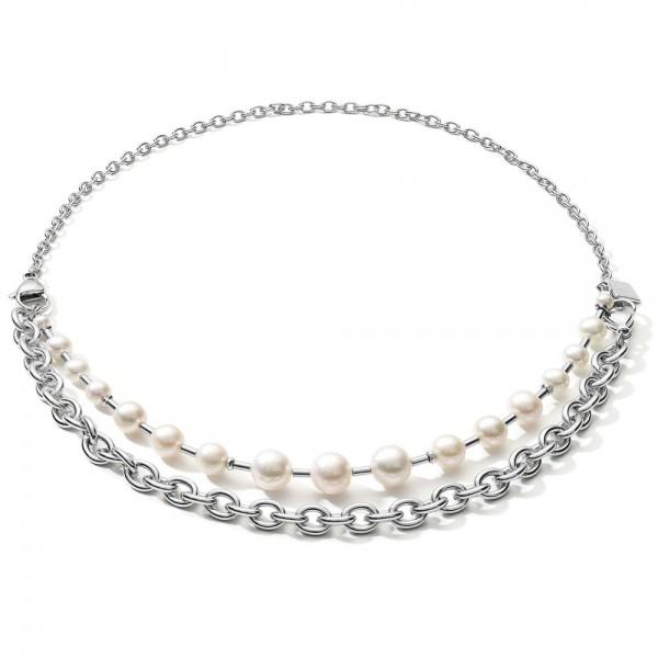 Halskette Süßwasserperlen & Chunky Chain 4-in-1 Weiß-Silber