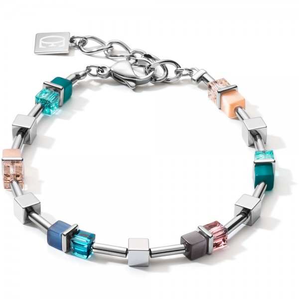 GeoCUBE® Armband Colour Couple Hämatit Blau-Türkis-Peach