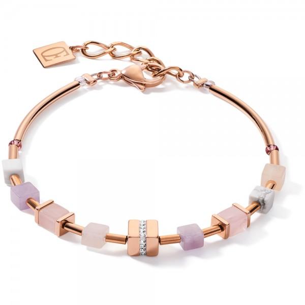 GeoCUBE® Armband Roségold Rosa-Beige