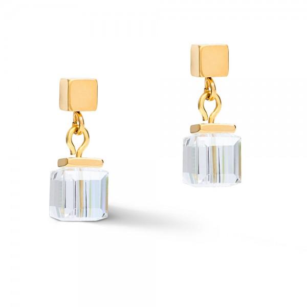 GeoCUBE® Ohrringe Swarovski® Kristalle Gold-Grau