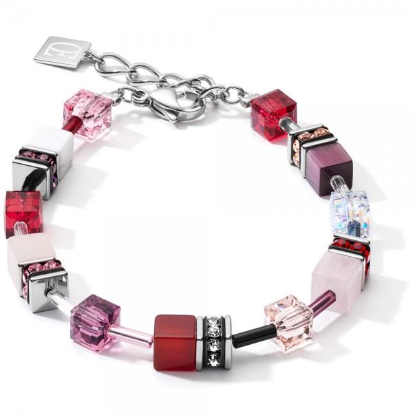 GeoCUBE® Armband Swarovski® & Edelsteine Rot-Lila