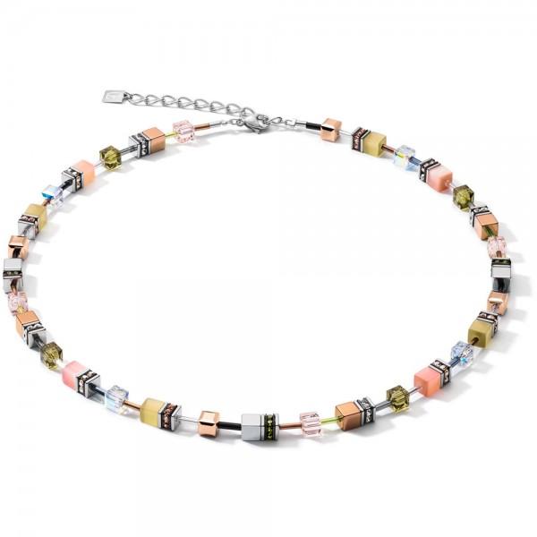 GeoCUBE® Halskette Medium Oliv-Peach