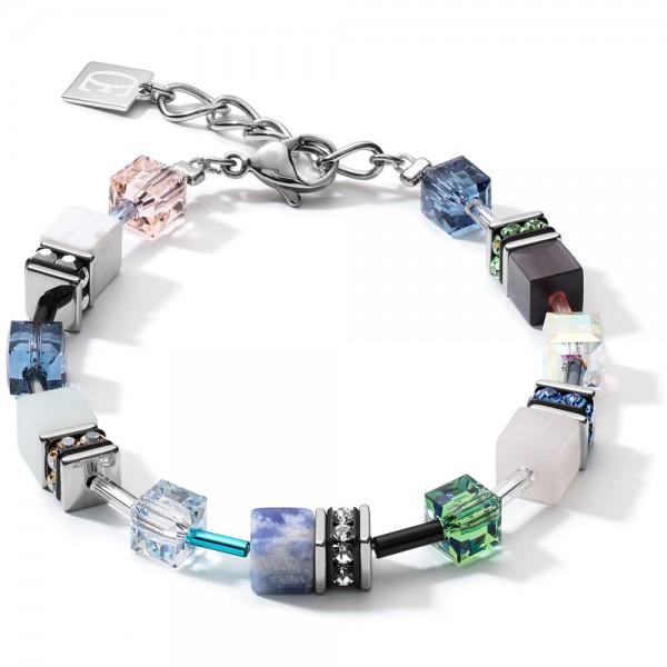 GeoCUBE® Armband Swarovski® & Edelsteine Blau-Grün