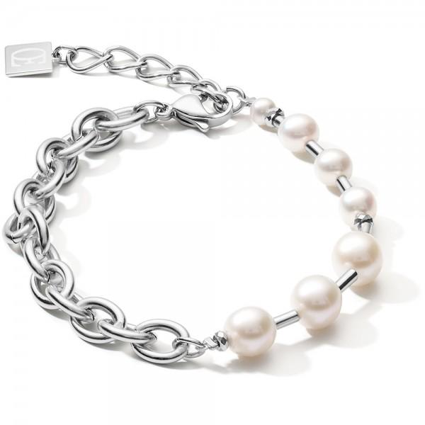 Armband Süßwasserperlen & Chunky Chain 4-in-1 Weiß-Silber