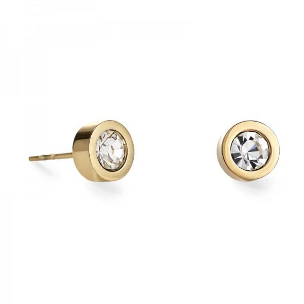 Ohrringe Kristall & Edelstahl Gold